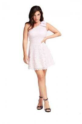 GUESS Short one-shoulder lace dress - WHITE