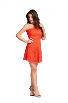 GUESS Short one-shoulder lace dress - ROSSO