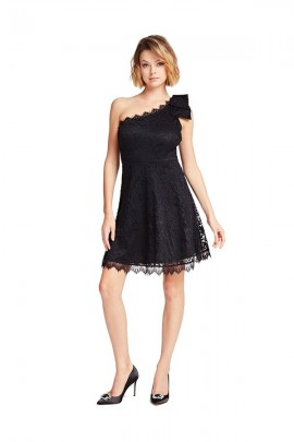 GUESS Short one-shoulder lace dress - BLACK