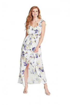 GUESS Long floral dress - WHITE