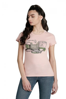 LIU JO T-shirt with logo and rhinestones - ROSA CIPRIA