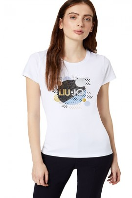LIU JO T-shirt with logo and rhinestones - WHITE
