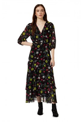 LIU JO Long printed dress - BLACK