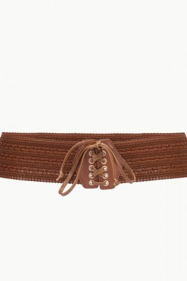 LIU JO Belt in elastic cord and laces - BROWN