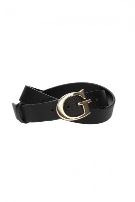 GUESS Hammered belt and gold buckle - BLACK