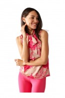 RENAISSANCE Floral sleeveless blouse and neck bow