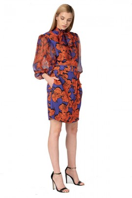 SILVIAN HEACH Long sleeve flower patterned dress in tulle - ROYAL BLUE