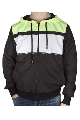 PYREX Tricolor nylon sweatshirt with zip and hood - BLACK