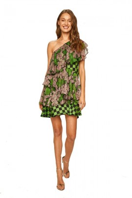 SILVIAN HEACH Short one-shoulder patterned dress - VERDE