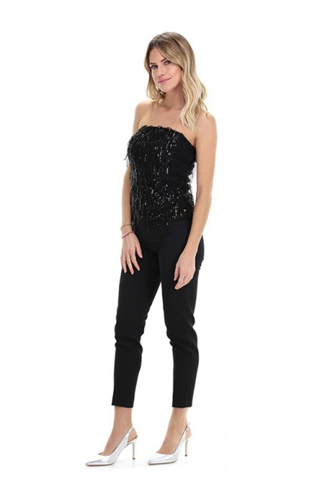 KOCCA Top with fringes and sequins