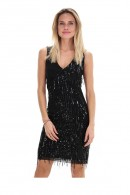 KOCCA Low-cut dress with fringes and sequins