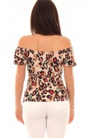 LIU JO Patterned T-shirt with neckline bow