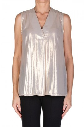 KAOS Sleeveless laminated blouse