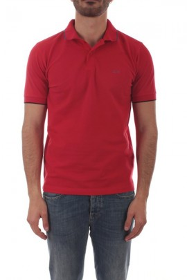 SUN 68 Basic polo shirt with contrasting piping - ROSSO