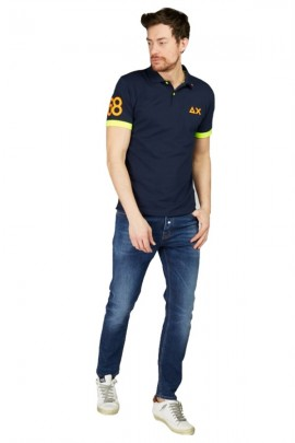 SUN 68 Polo shirt with max fluo logo