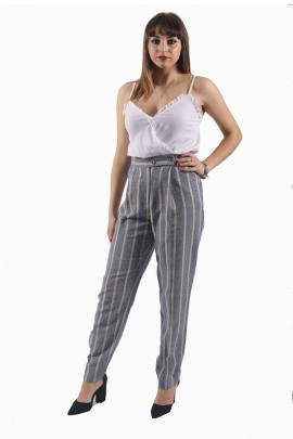 FRACOMINA Striped palazzo jumpsuit and lace bodice - BLUETTE