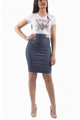 FRACOMINA Denim skirt with gold buttons
