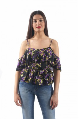 GUESS Floral over top - BLACK