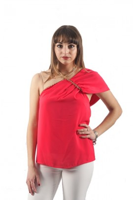 KOCCA One-shoulder blouse and chain