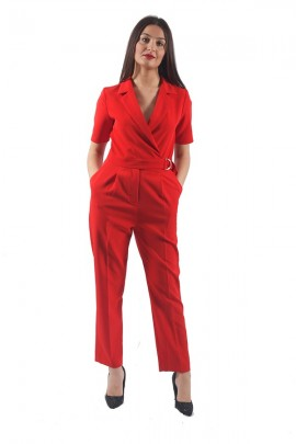 KOCCA Jumpsuit with bow belt - ROSSO