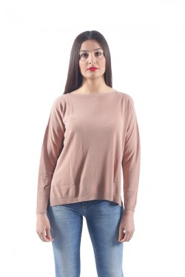 KONTATTO Long-sleeved boat neck sweater - ROSA