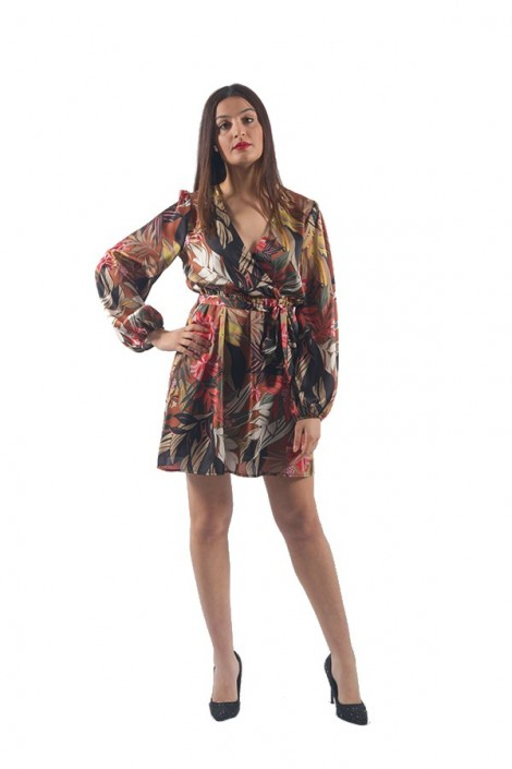 KONTATTO Short floral dress and long sleeve