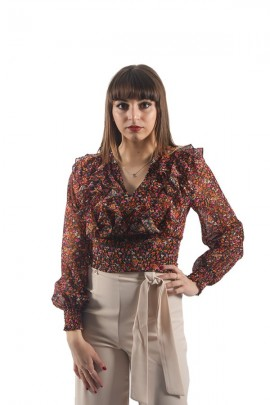 KONTATTO Fantasy blouse and ruffle neckline