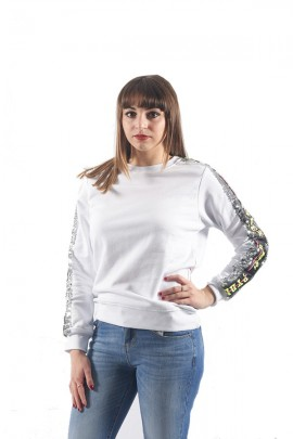 PYREX Sweatshirt with sequins and long sleeve logo - WHITE