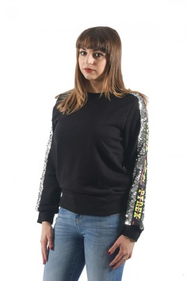 PYREX Sweatshirt with sequins and long sleeve logo - BLACK