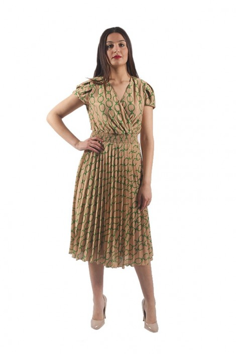 RENAISSANCE Laminated dress with chain print
