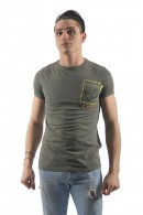 FIFTY FOUR T-shirt with flowers and fluorescent pocket