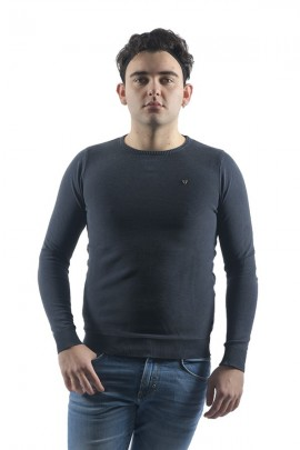 FIFTY FOUR Micro-row crew neck sweater - BLUE