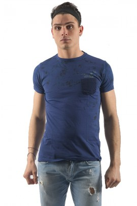 FIFTY FOUR T-shirt fiori e taschino - BLU