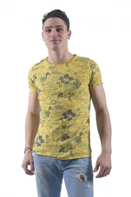 FIFTY FOUR Floral and raw cut T-shirt