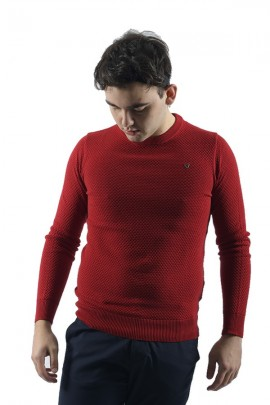 FIFTY FOUR Micromachined sweater - ROSSO