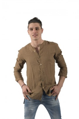 LUCA BERTELLI Linen shirt without collar