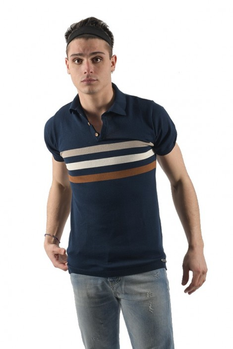 ROBERTO PEPE Knitted polo shirt with stripe