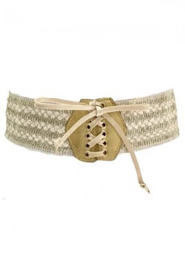 LIU JO Belt in elastic cord and laces - BEIGE