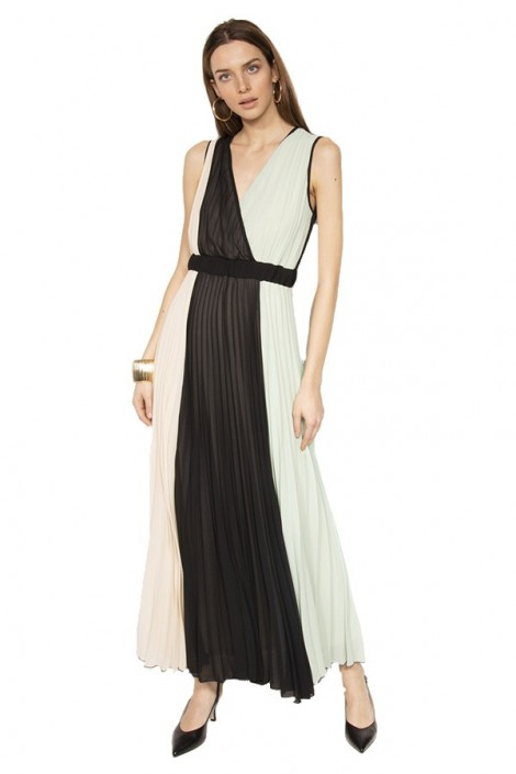 KONTATTO Long pleated tricolor dress