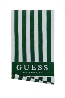 GUESS Striped beach towel and logo - VERDE