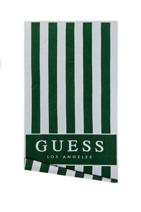 GUESS Striped beach towel and logo