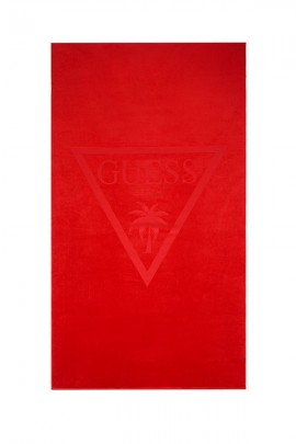 GUESS Beach towel with logo on color - ROSSO