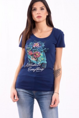 FRACOMINA T-shirt with flowers and rhinestones print