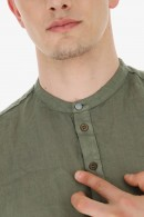 IMPERIAL Korean tunic in linen and leather buttons
