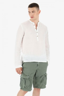 IMPERIAL Korean tunic in linen and leather buttons - WHITE