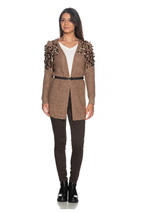 LIU JO Open sweater with sequins and belt