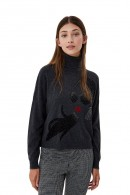 LIU JO Rhinestone logo sweater and studs