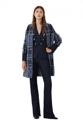 LIU JO Patterned coat sweater with belt