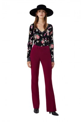 LIU JO Wide v-neck floral sweater