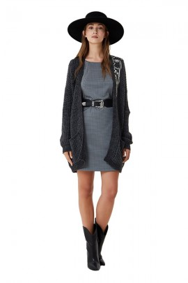 LIU JO Micro-patterned dress with wide round neck